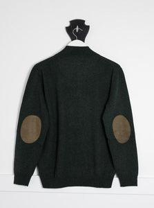Forest Green Mens Hunter Jumper with Brown Patches