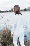 White Sweater with blue white stripe patches