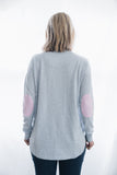 Baby Blue Sweater with pink white stripe patches
