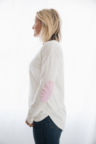 White Sweater with pink white stripe patches