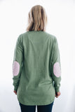 Mint Green Sweater with pink white stripe patches