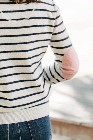 Ivory and Navy Breton Jumper with Pink Patches