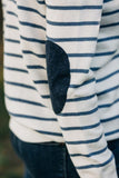 Ivory and Denim Breton Jumper with Navy Patches