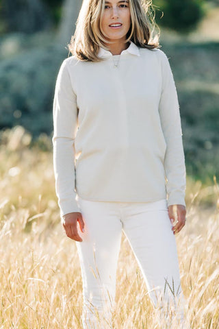 Ivory Swing Jumper with Ivory Patches