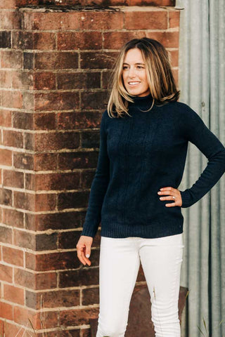 Navy Cable Roll Neck  Jumper