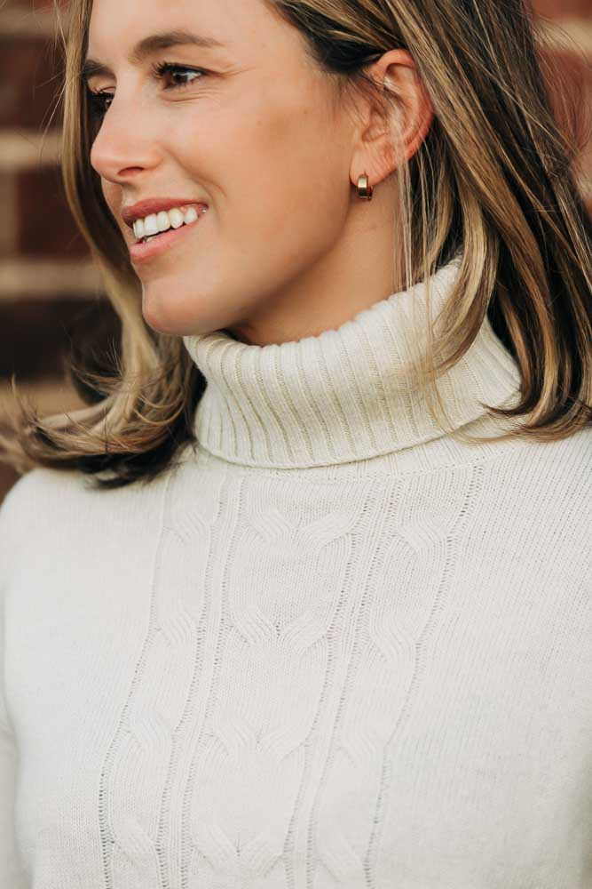 Ivory Cable Roll Neck  Jumper