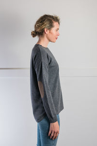 Steel Grey Swing Jumper with Brown Patches