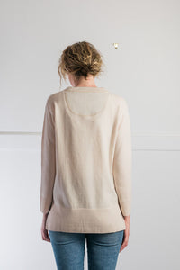 NEW Light Beige Crew Neck Spilt Sides Jumper