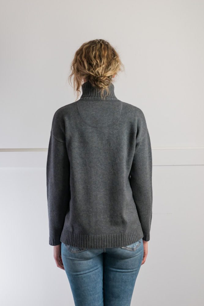 NEW LOOK Steel Grey Cable Roll Neck  Jumper