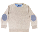 Oatmeal Freddie Jumper with Blue/White Stripe Patches