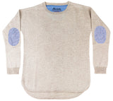 Oatmeal Swing Jumper with Blue/White Patches