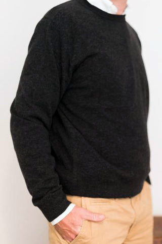 Crew Neck Charcoal Jumper with Tan Patches