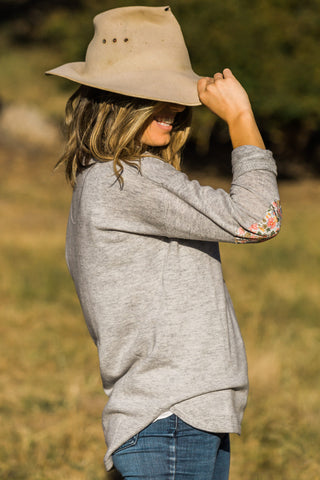 Grey Swing Jumper with Liberty Patches