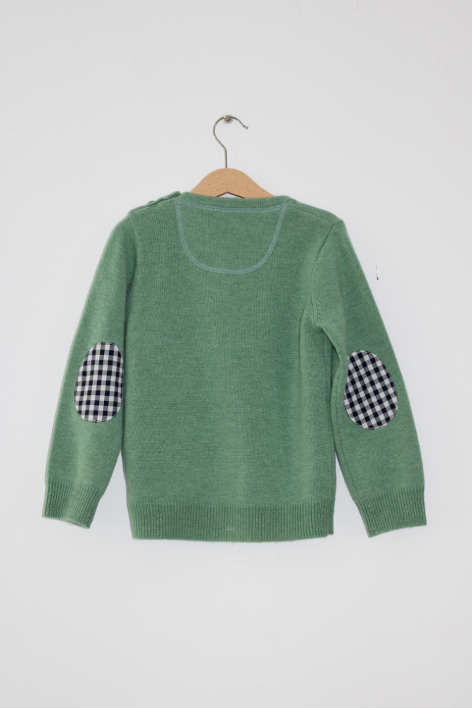 Mint Freddie Jumper with Gingham Patches