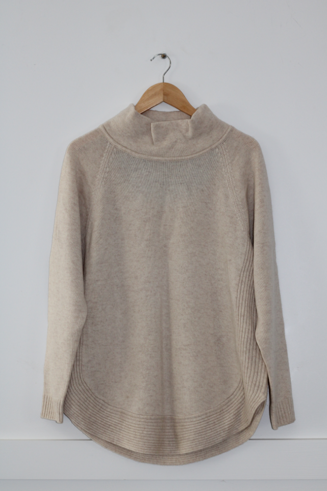 Oatmeal Funnel Neck Jumper