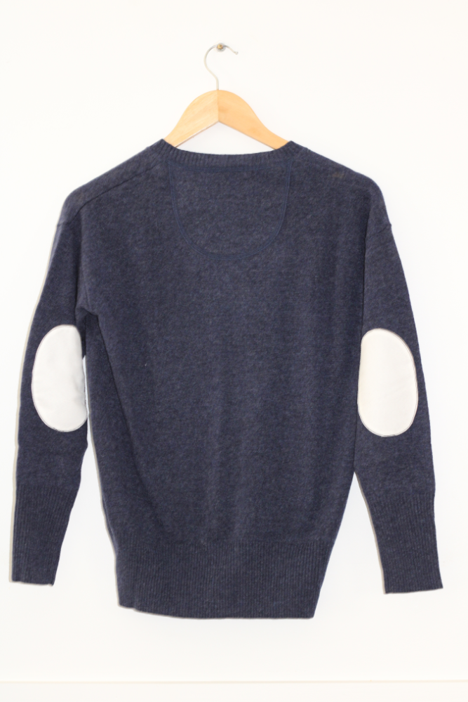 Navy V Neck Jumper with ivory elbow patches