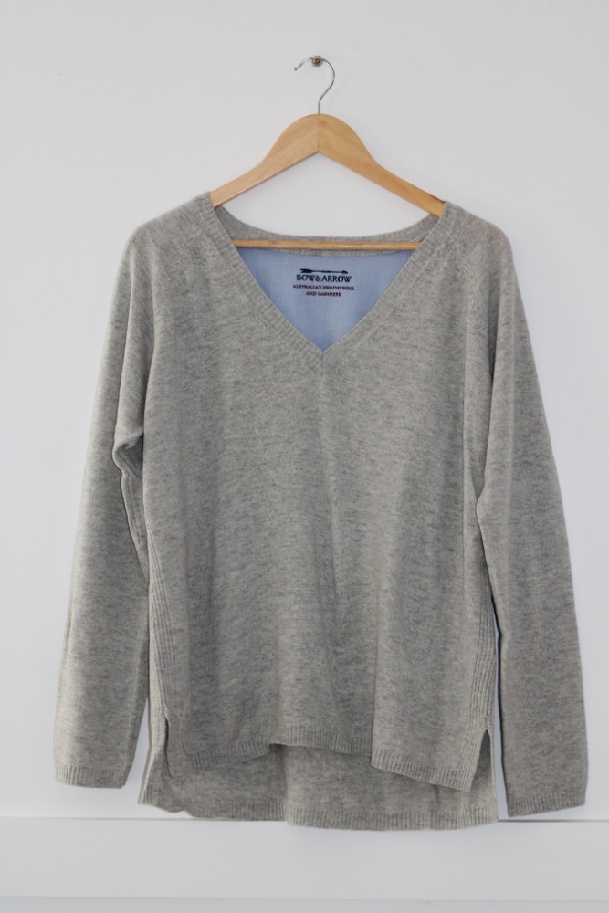 Grey V Neck Jumper with grey wool elbow patches