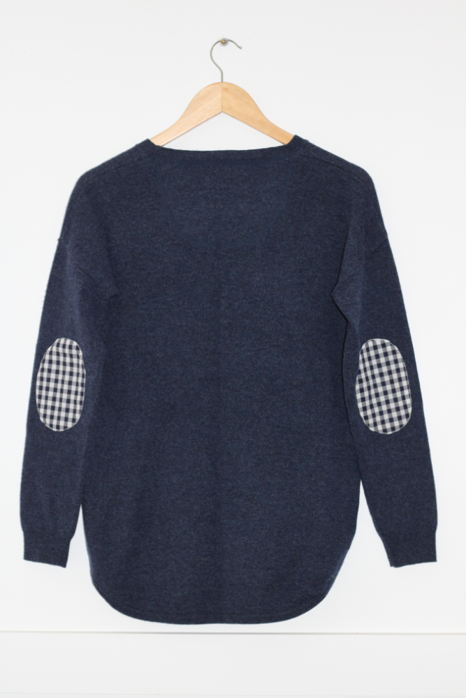 Navy Swing Jumper with Gingham Patches