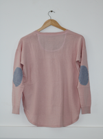Load image into Gallery viewer, Lolly Pink Sweater with blue white stripe patches