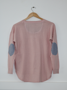 Lolly Pink Sweater with blue white stripe patches