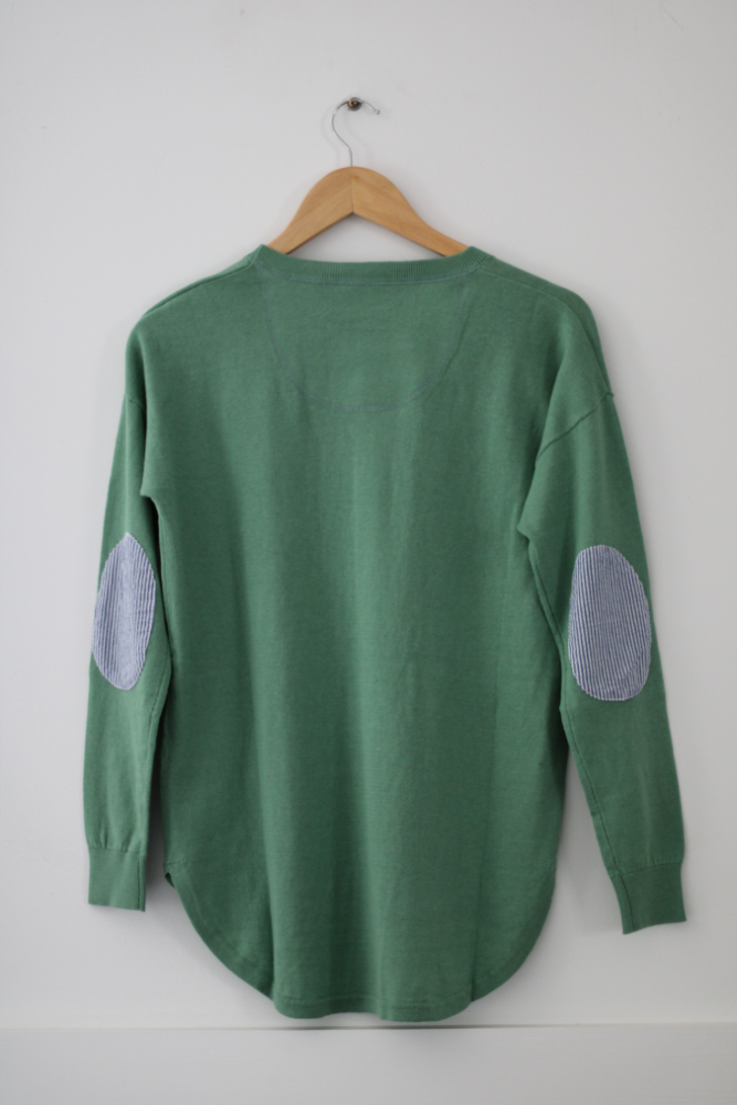 Mint Green Sweater with blue white stripe patches