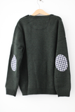 Forest Green Freddie Jumper with Gingham patches