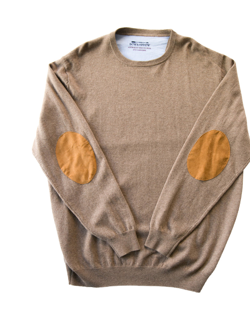 Crew Neck Bone Jumper with Tan Patches