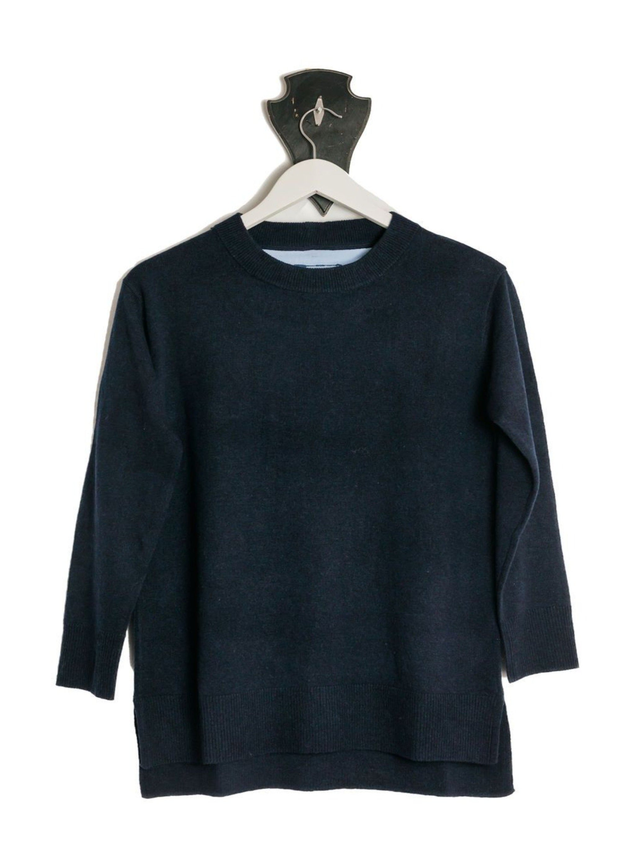 NEW Navy Crew Neck Spilt Sides Jumper