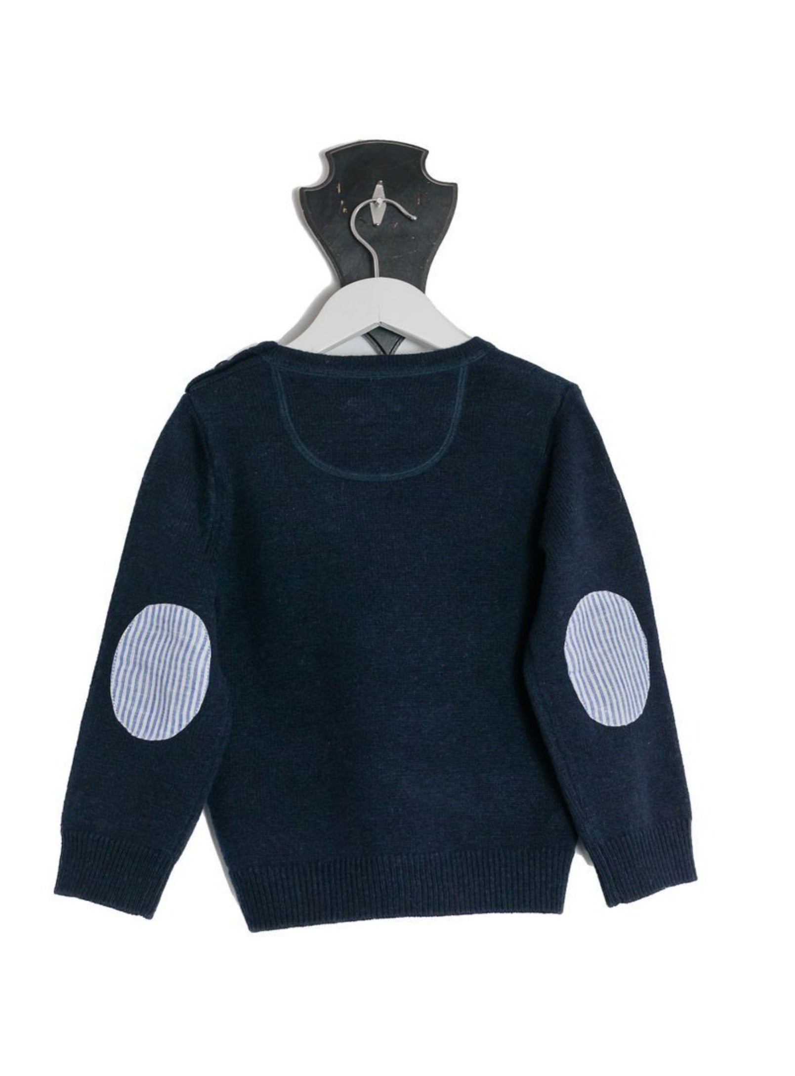 Navy Freddie Crew Neck Jumper with Blue and White Stripe Patches