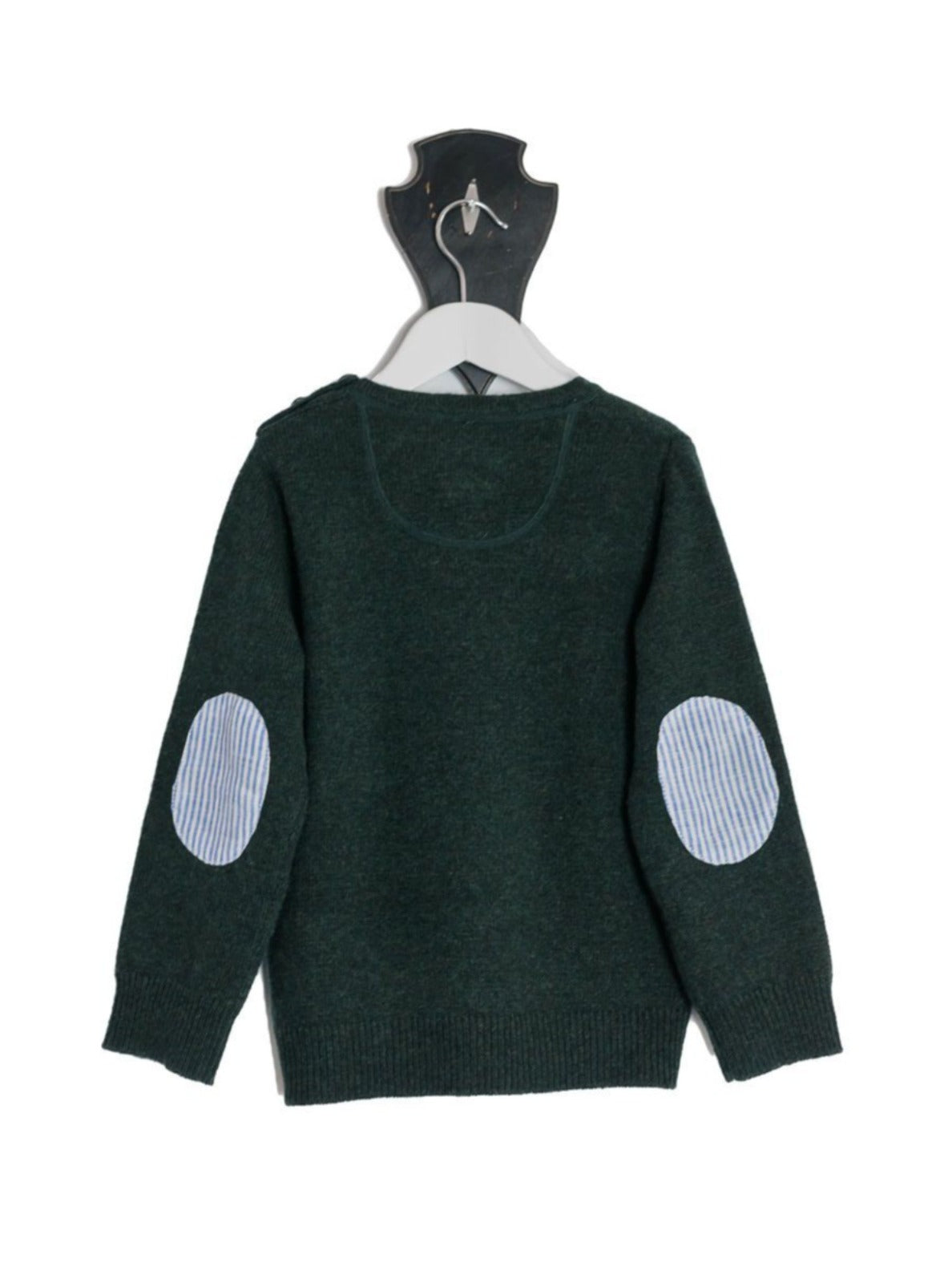 Forest Green Freddie Crew Neck Jumper with Blue and White Stripe Patches