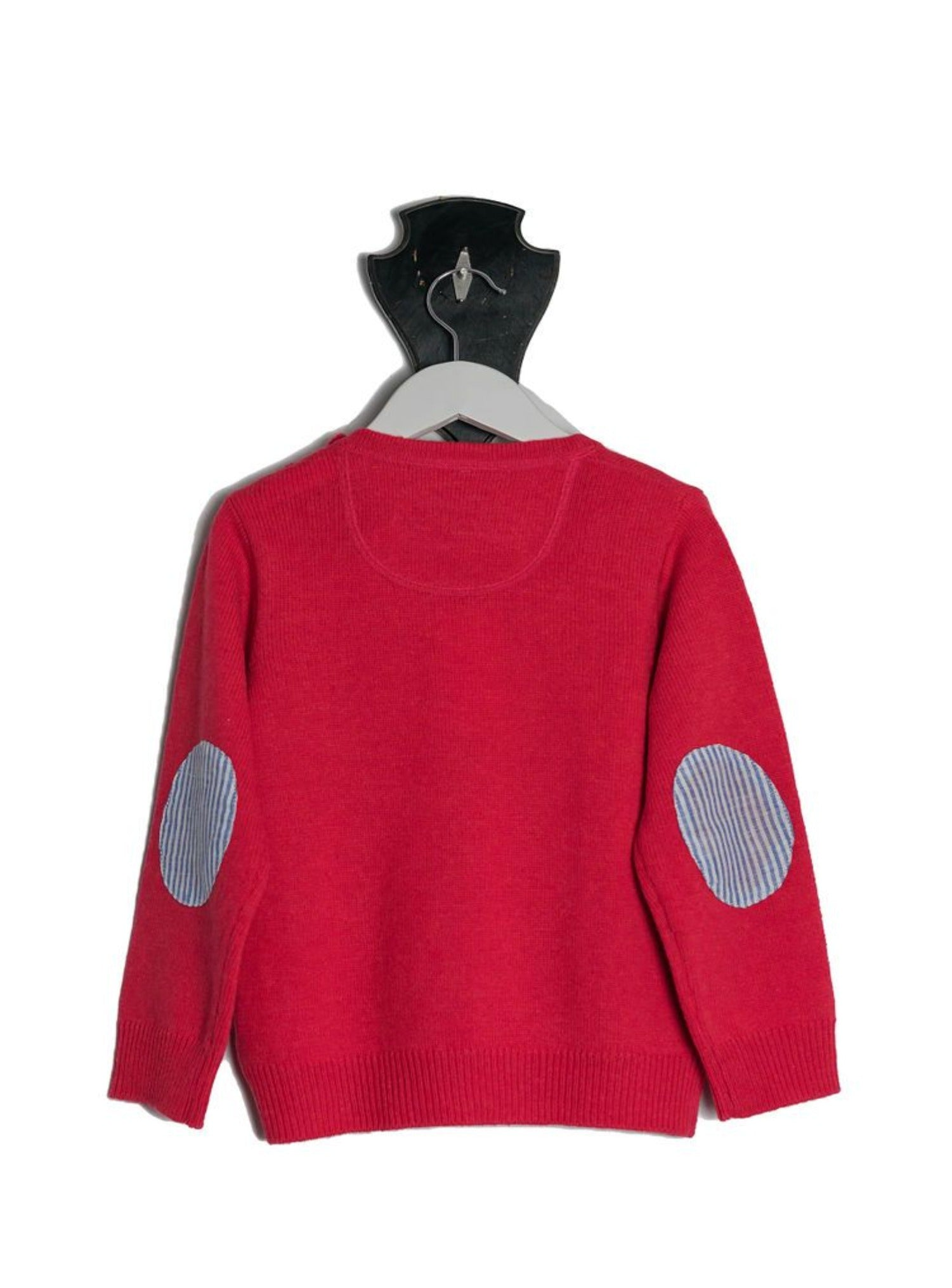 Red Freddie Crew Neck Jumper with Blue and White Stripe Patches