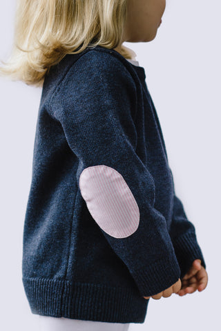 Navy Florence Jumper with Pink/White Patches