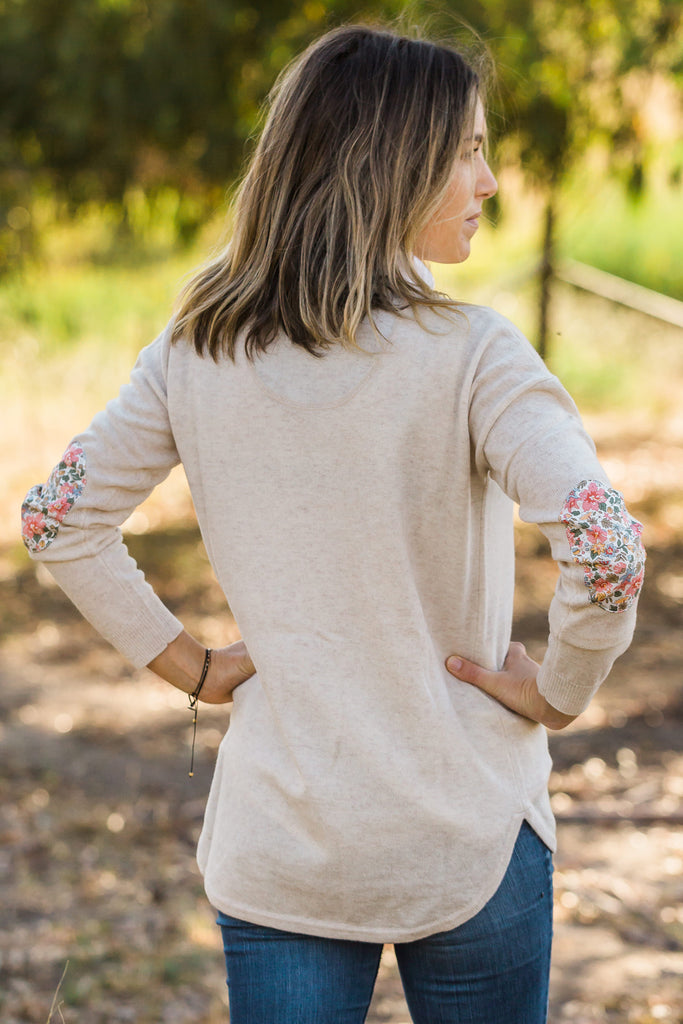 Oatmeal Swing Jumper with Liberty Patches