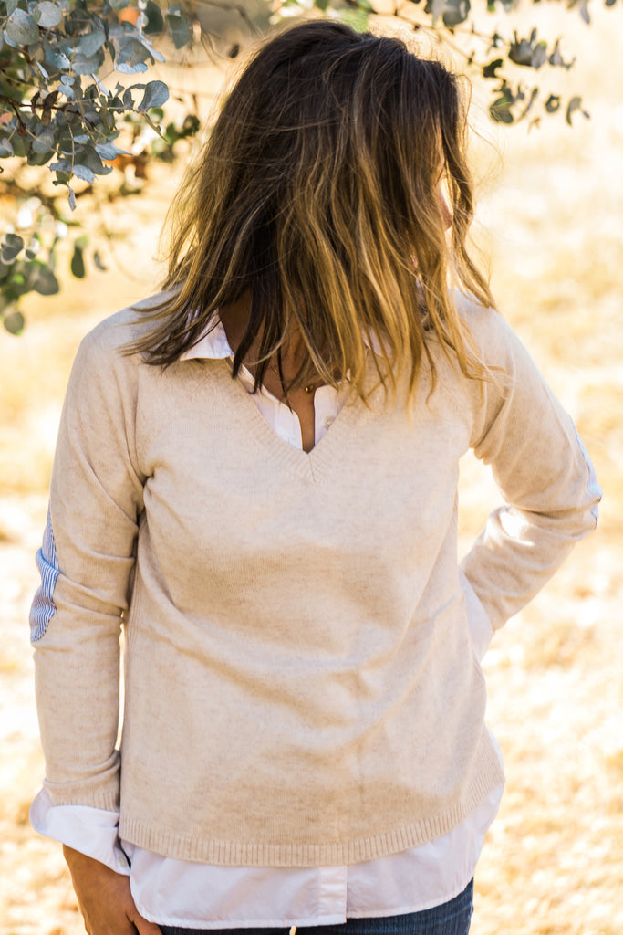 Oatmeal V Neck Jumper with Blue/White Patches