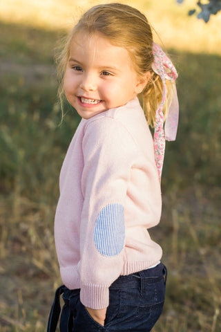 Pale Pink Freddie Jumper with Blue/White Patches