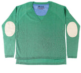 Spearmint V Neck Jumper with Ivory Patches