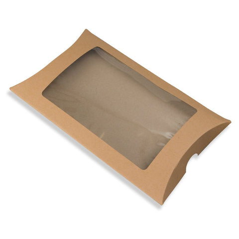 Manilla Kraft Pillow Box - Recycled with Window - Envelope Kings