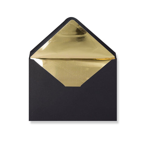 Black Metallic Gold Foil Lined Envelopes - Envelope Kings