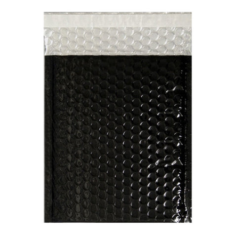 Black Gloss Metallic Bubble Bags Pocket Peel and Seal - Envelope Kings