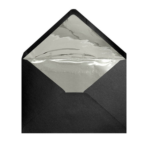 Black - Metallic Silver Foil Lined Envelopes - Envelope Kings