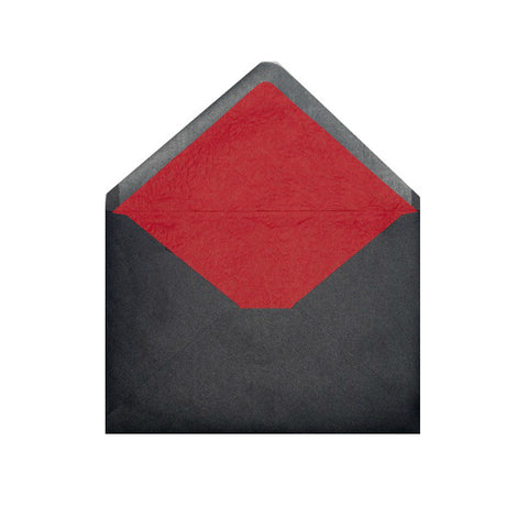 Black - Red Tissue Lined Envelopes - Envelope Kings
