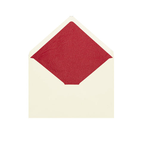 Ivory - Red Tissue Lined Envelopes - Envelope Kings
