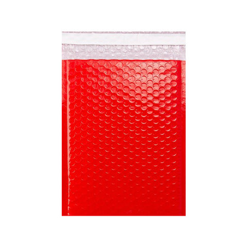 Red Gloss Poly Bubble Bags Pocket Peel and Seal - Envelope Kings