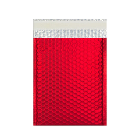 Red Matt Metallic Bubble Bags Pocket Peel and Seal - Envelope Kings