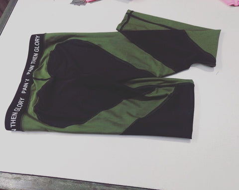 Image of Heart Shaped Leggings - Olive Green & Black w/ Waistband *NEW* - Pain Then Glory