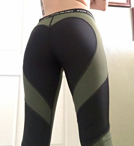 Image of Heart Shaped Leggings - Olive Green & Black 61% OFF