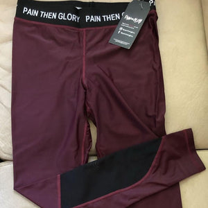 Maroon Leggings & Zip Up Sports Bra