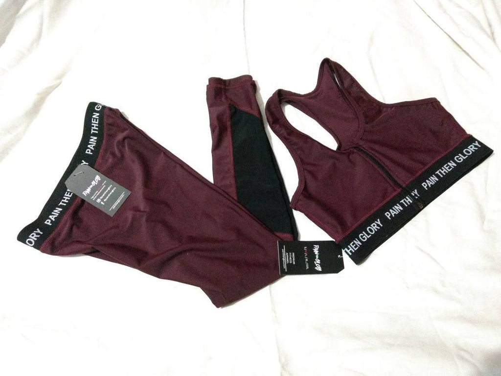 Pain Then Glory Maroon Leggings w/ Waistband - Pain Then Glory