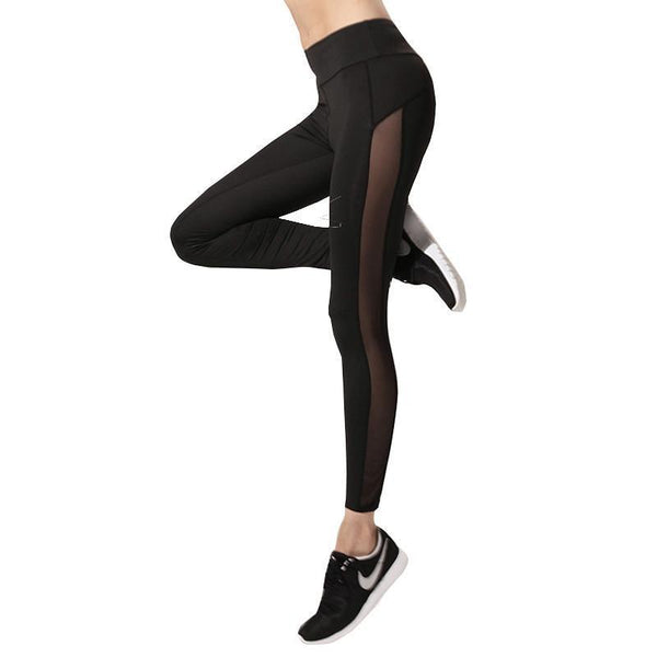 Black Push Up Leggings With Mesh Side Panel