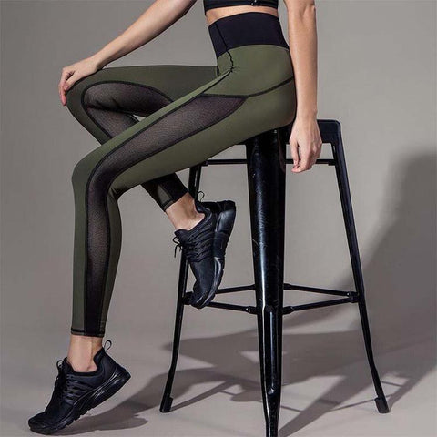 Olive Green, Mesh Paneled Yoga Leggings